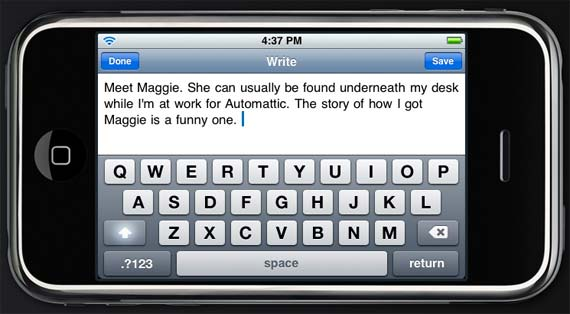 WordPress on iPhone