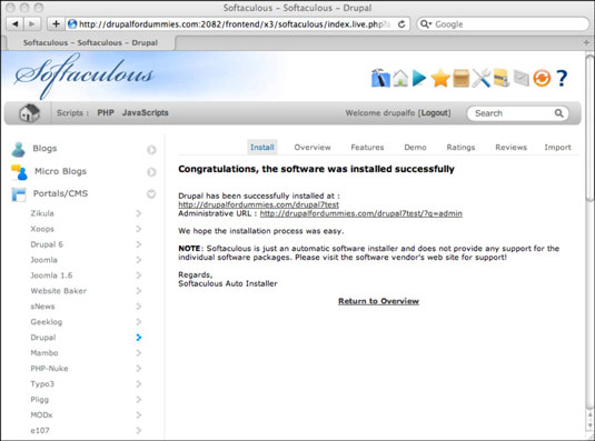 Drupal Successfully installed