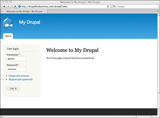 Drupal Welcome page